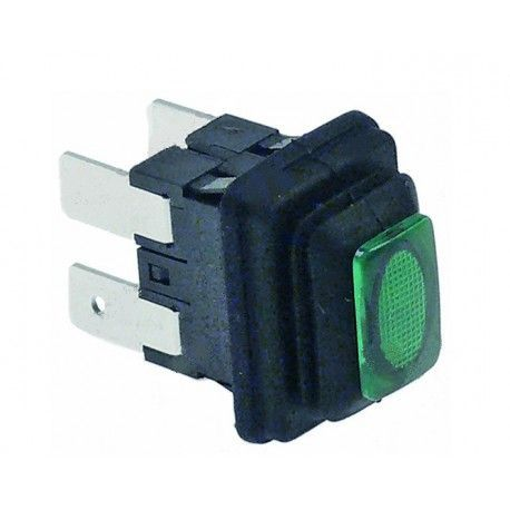 Interruptor Luminoso Verde 19x13mm 230V